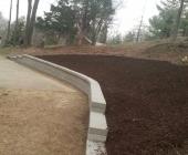 Finshed wall & fresh mulch